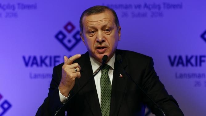 Turkish President Erdogan makes a speech during the opening ceremony of Vakif Participation Bank in Istanbul