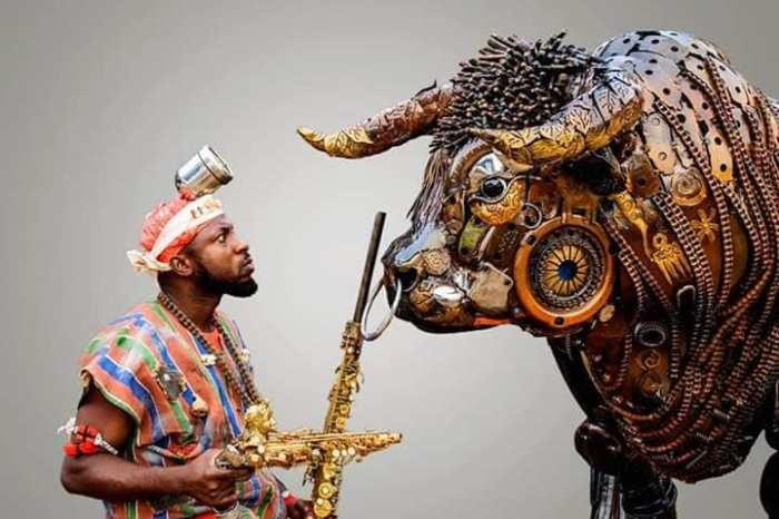 Nigerian sculptor DOTUN POPOOLA makes life-size sculptures using scrap metal and found objects
