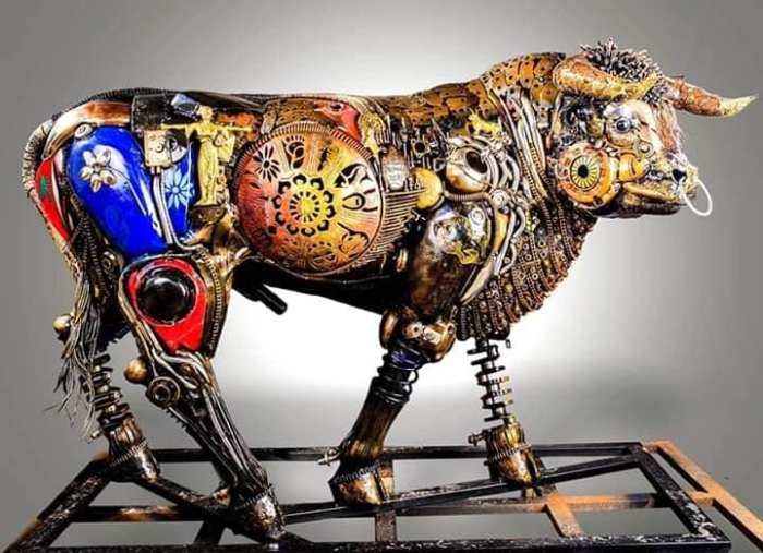 Nigerian sculptor DOTUN POPOOLA makes life-size sculptures using scrap metal and found objects3