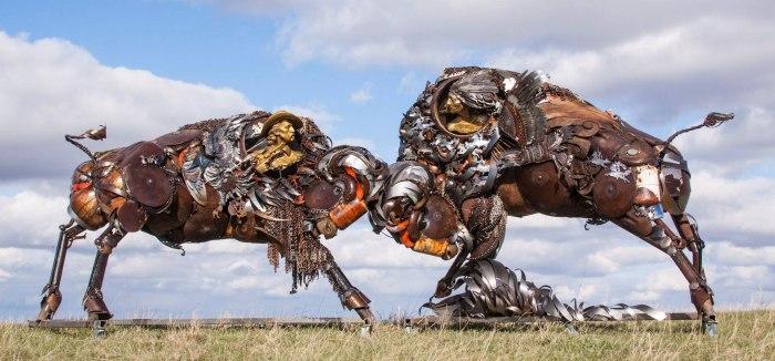 Nigerian sculptor DOTUN POPOOLA makes life-size sculptures using scrap metal and found objectsAGAPEN