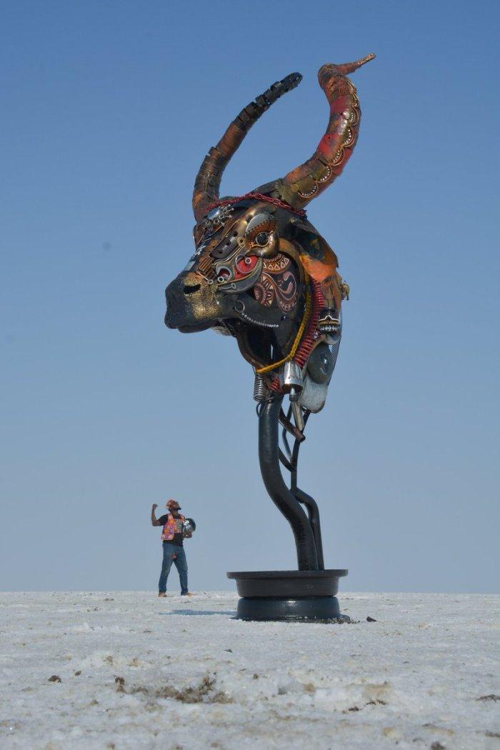 Nigerian sculptor DOTUN POPOOLA makes life-size sculptures using scrap metal and found objectsAGAPEN10