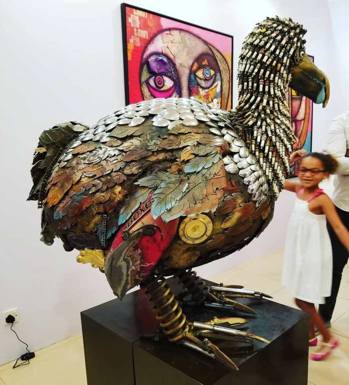 Nigerian sculptor DOTUN POPOOLA makes life-size sculptures using scrap metal and found objectsAGAPEN13
