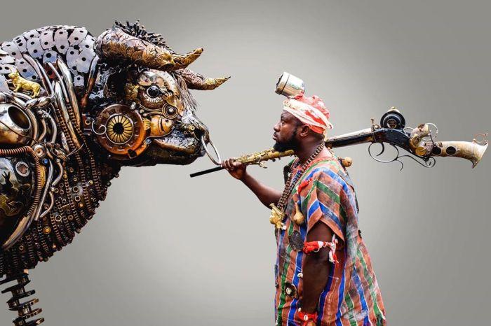 Nigerian sculptor DOTUN POPOOLA makes life-size sculptures using scrap metal and found objectsAGAPEN14