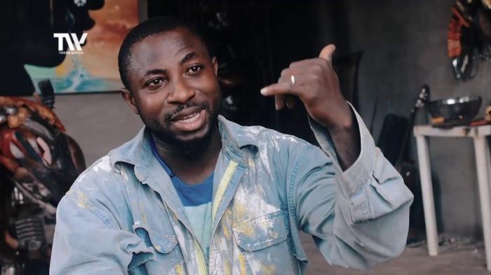 Nigerian sculptor DOTUN POPOOLA makes life-size sculptures using scrap metal and found objectsAGAPEN16