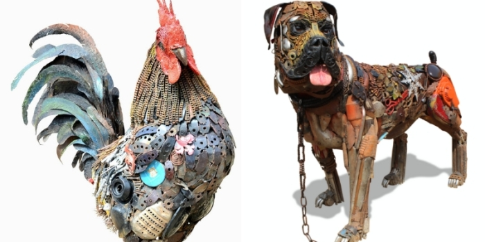 Nigerian sculptor DOTUN POPOOLA makes life-size sculptures using scrap metal and found objectsAGAPEN17