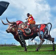 Nigerian sculptor DOTUN POPOOLA makes life-size sculptures using scrap metal and found objectsAGAPEN3