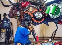 Nigerian sculptor DOTUN POPOOLA makes life-size sculptures using scrap metal and found objectsAGAPEN5