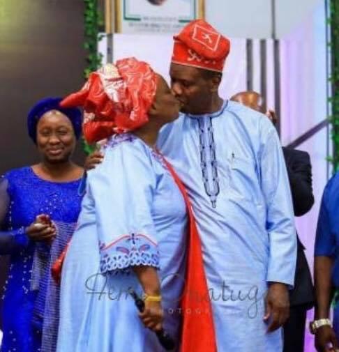 Pastor Adeboye kisses wife